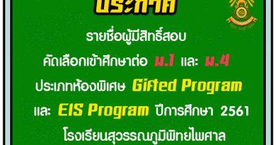 ประกาศรายชื่อผู้มีสิทธิ์สอบคัดเลือกเข้าศึกษาต่อ ม.1และ ม.4 ประเภทห้องพิเศษ Gifted Program และ EIS Program ปีการศึกษา 2561